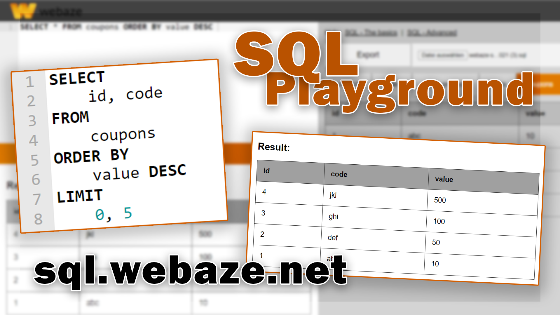 SQL Playground on webaze.net
